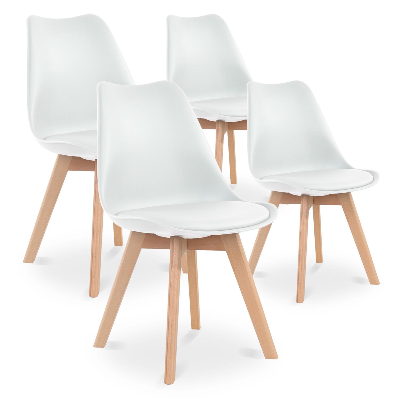 Lot de 4 chaises style scandinave Catherina Blanc