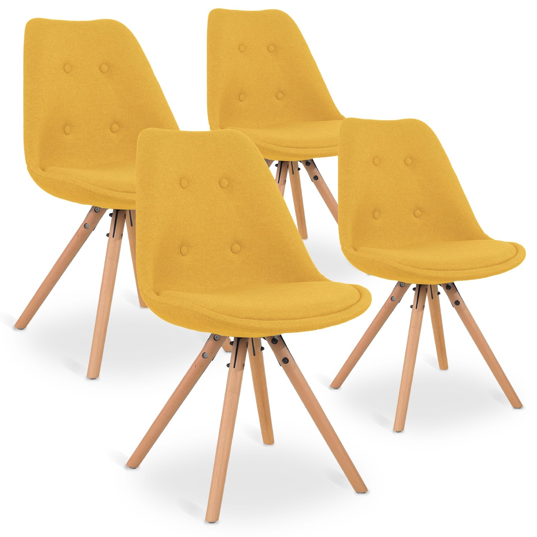 scandinaves chaises tissu 4 Jaune Frida de Lot qSMpGLUzV