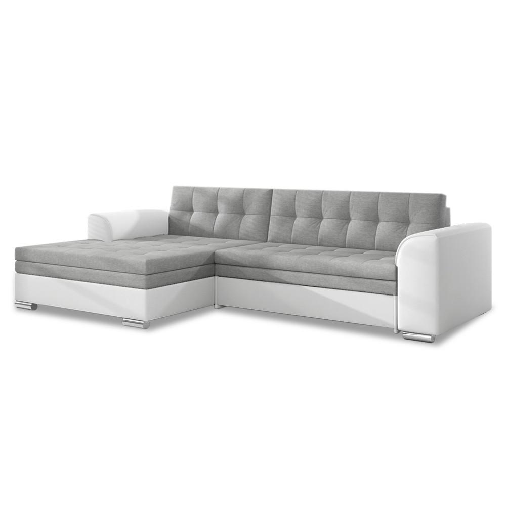 Canapé d'angle gauche convertible Lima Gris et Blanc