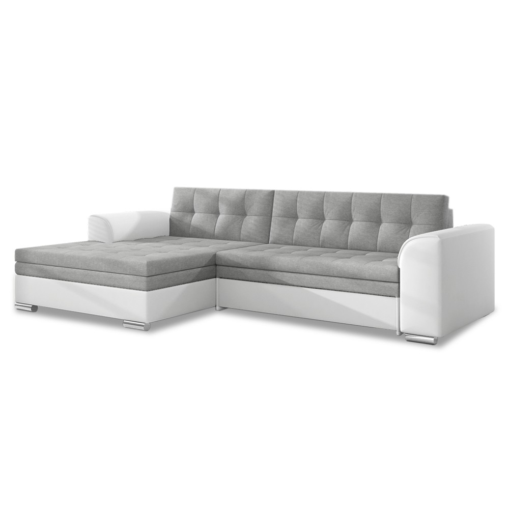 canap d 39 angle gauche convertible lima gris et blanc. Black Bedroom Furniture Sets. Home Design Ideas