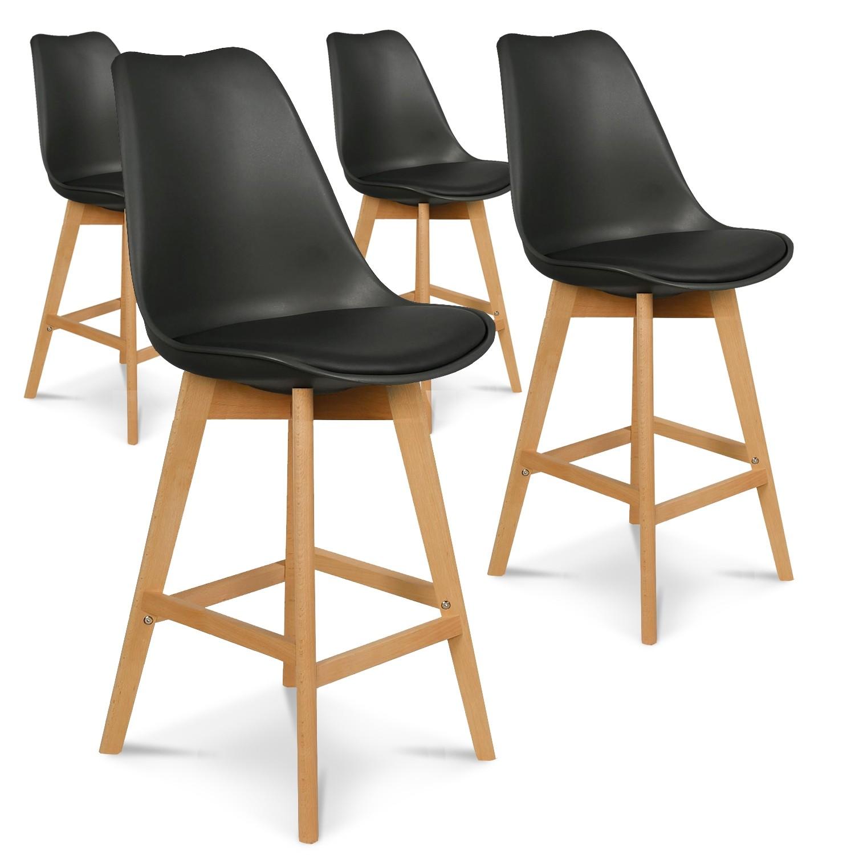 Lot de 4 chaises hautes style scandinave Catherina Noir H65cm