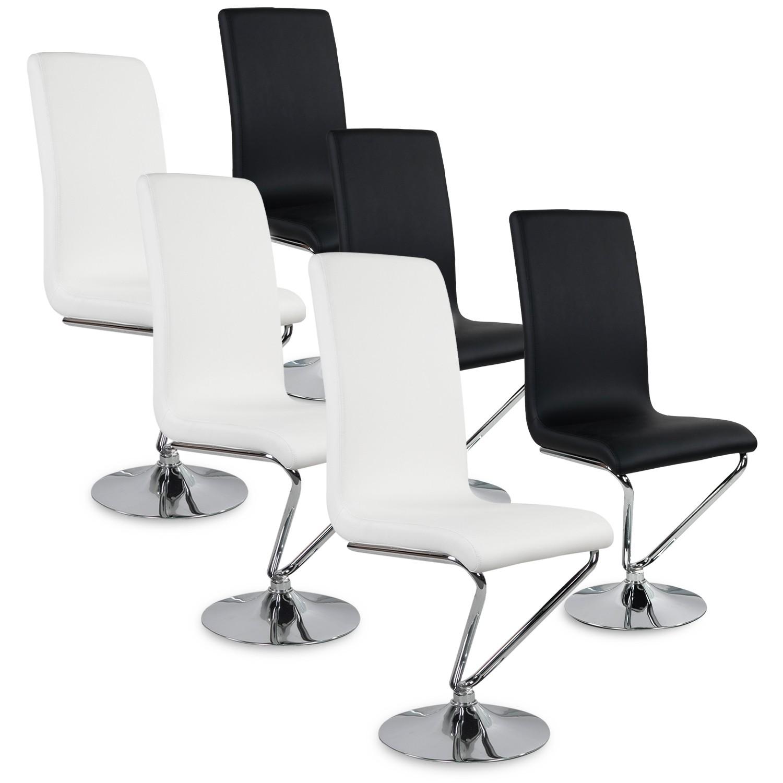 Lot de 6 chaises design Colami Bicolore Noir et Blanc