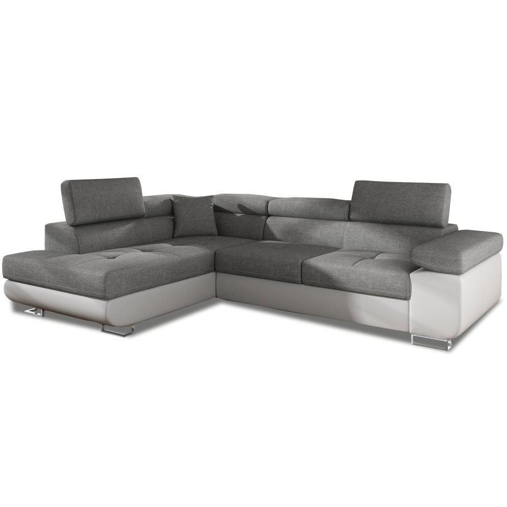 canap d 39 angle gauche convertible marius gris et blanc. Black Bedroom Furniture Sets. Home Design Ideas