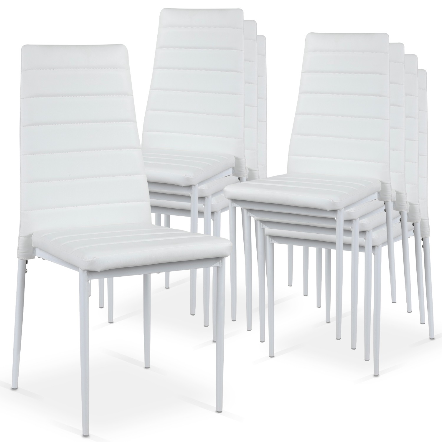Lot de 8 chaises Strip empilables Blanc