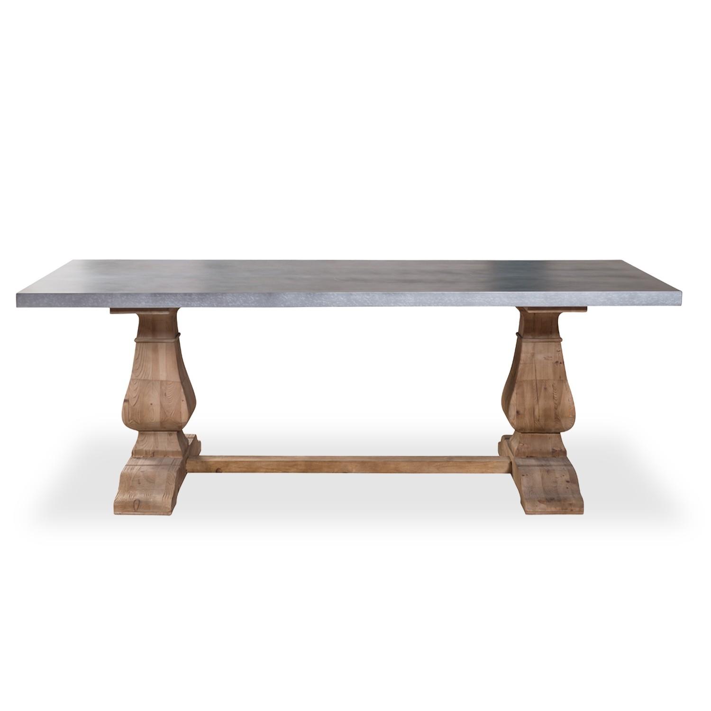 Table en métal et pin vieilli LUBERON style monastère