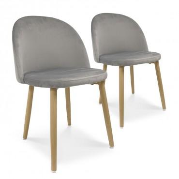 Lot de 2 chaises style scandinave Agathe velours Gris