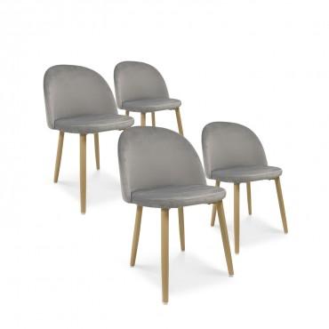 Lot de 4 chaises style scandinave Agathe velours