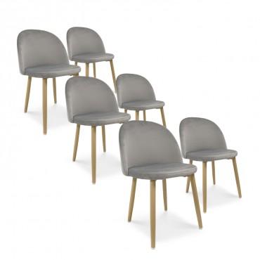 Lot de 6 chaises style scandinave Agathe velours Gris