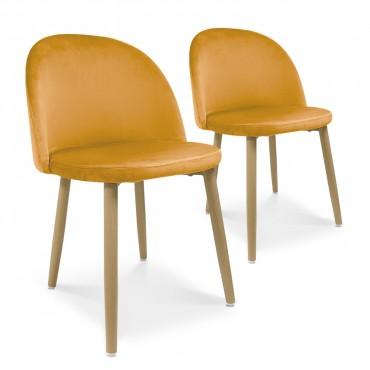 Lot de 2 chaises style scandinave Agathe velours