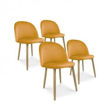 Lot de 4 chaises style scandinave Agathe velours Jaune