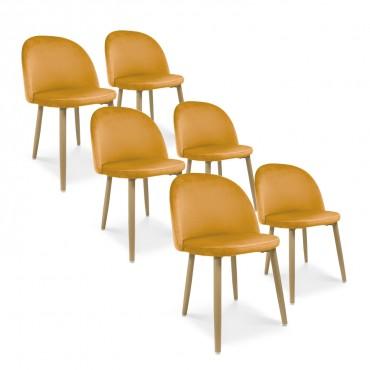 Lot de 6 chaises style scandinave Agathe velours