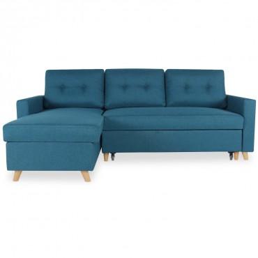 Canapé d'angle convertible réversible Falko Tissu Bleu canard
