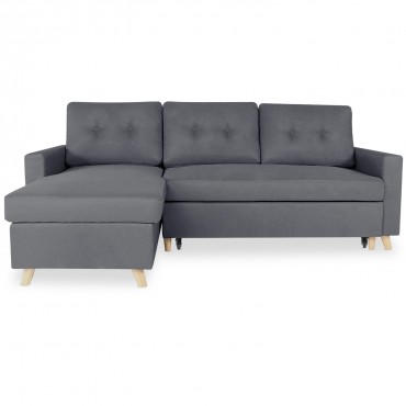 Canapé d'angle convertible réversible Falko Tissu Gris foncé