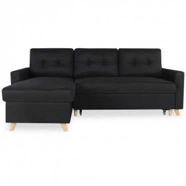 Canapé d'angle convertible réversible Falko Tissu Noir