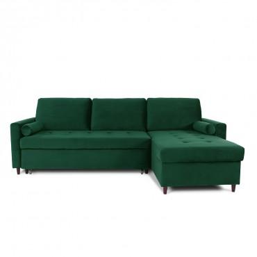 Canapé d'angle convertible réversible Claudio en velours vert