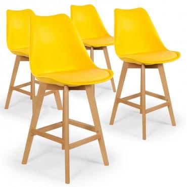 Lot de 4 chaises hautes style scandinave Catherina Jaune - H65cm