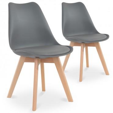 Lot de 2 chaises style scandinave Catherina Gris