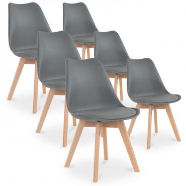 Lot de 6 chaises style scandinave Catherina Gris