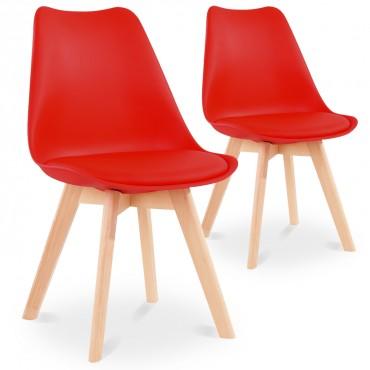 Lot de 2 chaises style scandinave Catherina Rouge