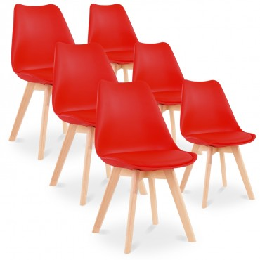 Lot de 6 chaises style scandinave Catherina Rouge