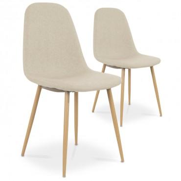 Lot de 2 chaises scandinaves Bali tissu Beige