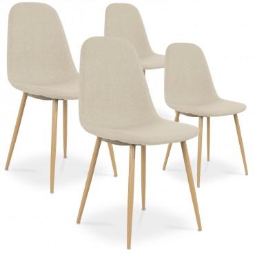Lot de 4 chaises style scandinave Bali tissu