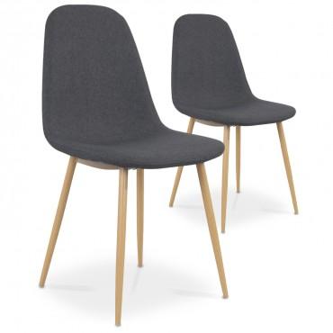 Lot de 2 chaises style scandinave Bali tissu