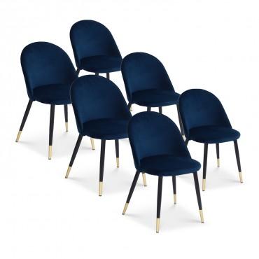 Lot de 6 chaises Bertille en velours pieds noir et or