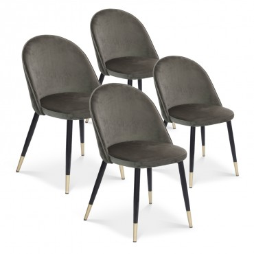 Lot de 4 chaises Bertille en velours gris pieds noir et or