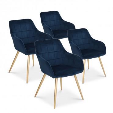 Lot de 4 chaises Noémie en velours bleu pieds or