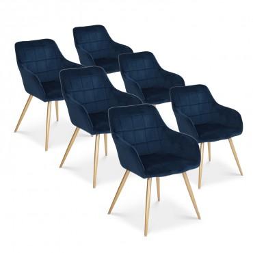 Lot de 6 chaises Noémie en velours bleu pieds or