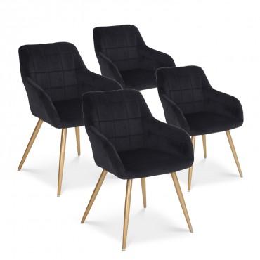 Lot de 4 chaises Noémie en velours pieds or