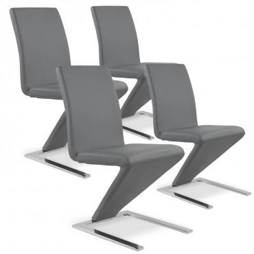 Lot de 4 chaises design Delano Gris
