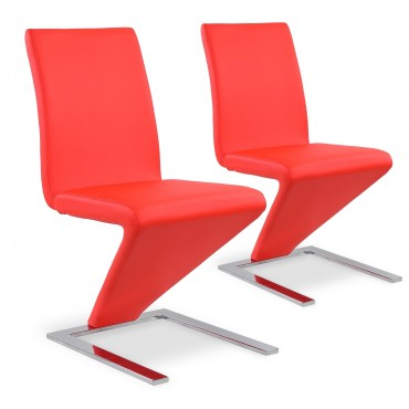 Lot de 2 chaises design Delano Rouge