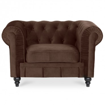 Fauteuil Chesterfield velours Altesse Marron
