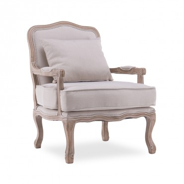 Fauteuil Gustave style Louis XV tissu beige