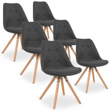 Lot de 6 chaises scandinaves Frida tissu Gris foncé