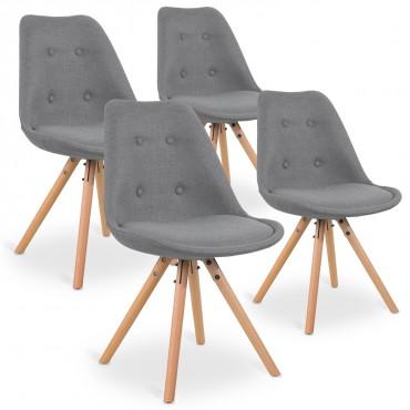 Lot de 4 chaises style scandinave Frida tissu