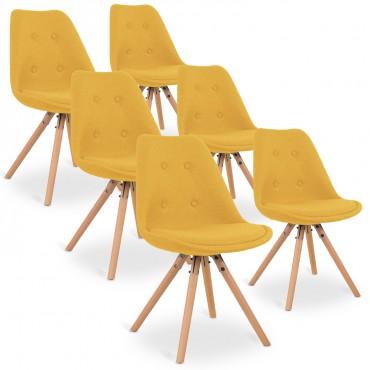 Lot de 6 chaises style scandinave Frida tissu
