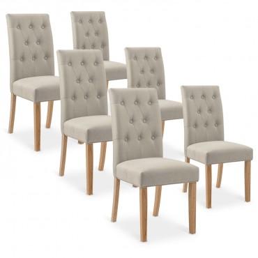 Lot de 6 chaises capitonnées Gaya tissu beige