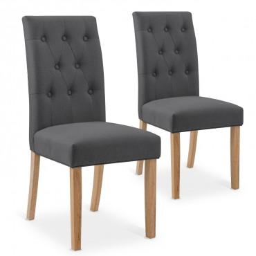 Lot de 2 chaises Gaya capitonnées en tissu