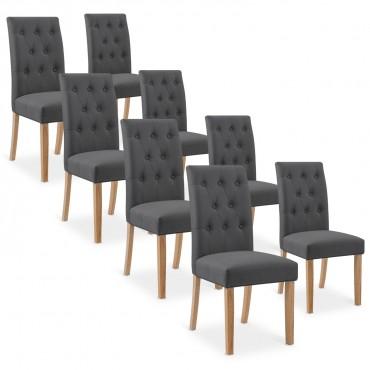Lot de 8 chaises capitonnées Gaya tissu gris