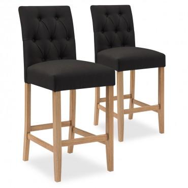 Lot de 2 chaises de bar en bois Gaya tissu Noir - H65cm