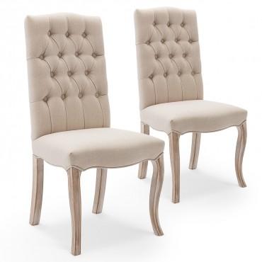 Lot de 2 chaises capitonnées Jade tissu beige