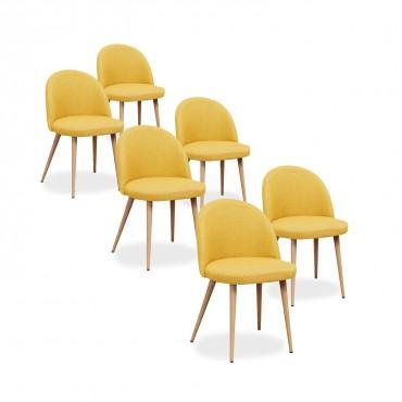 Lot de 6 chaises style scandinave Cecilia tissu