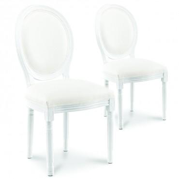 Lot de 2 chaises médaillon Louis XVI simili