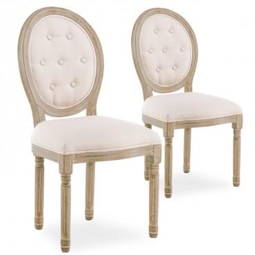Lot de 2 chaises médaillon capitonnées Louis XVI tissu