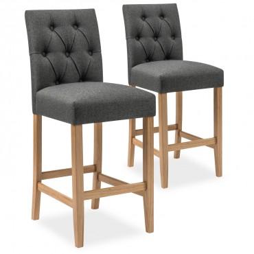 Lot de 2 chaises de bar en bois Gaya tissu Gris - H65cm