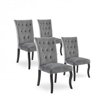 Lot de 4 chaises capitonnées Chaza velours