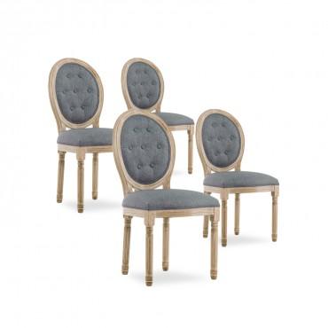 Lot de 4 chaises médaillon capitonnées Louis XVI tissu